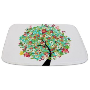 Whimsical Bright Late Summer Tree Bathmat