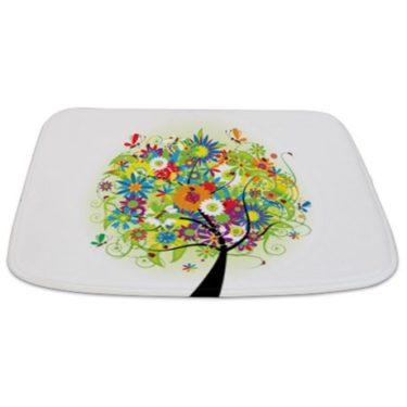 Whimsical Bright Spring Tree Bathmat