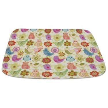 Whimsical Chicks, Birds, Owls and Flower Bathmat