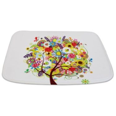 Whimsical Colorful Flowers Floral Tree Bathmat