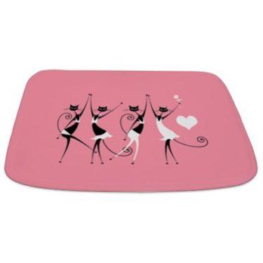 Whimsical Dancing Black Party Cats Bathmat