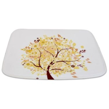 Whimsical Early Autumn Floral Tree Bathmat