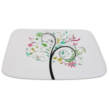 Whimsical Floral Swirl Tree Bathmat
