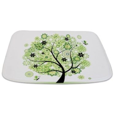 Whimsical Green Floral Tree Bathmat
