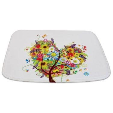 Whimsical Heart of Flowers Floral Tree Bathmat