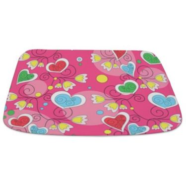 Whimsical Hearts And Flowers Bathmat