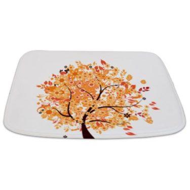 Whimsical Late Autumn Floral Tree Bathmat