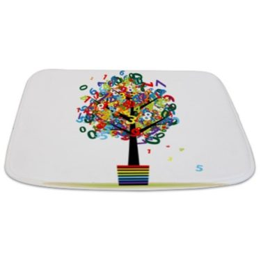 Whimsical Numbers Topiary Tree Bathmat