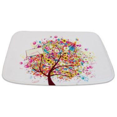 Whimsical Party Flower Tree Bathmat