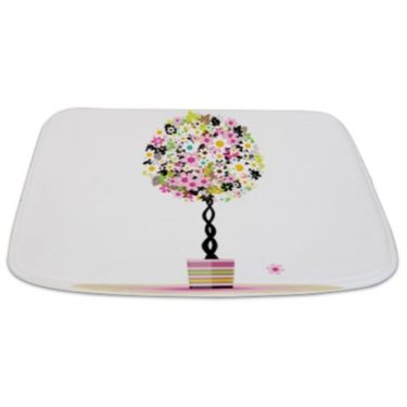 Whimsical Pinks Floral Topiary Tree Bathmat