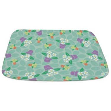 Whimsical Potted Flowers Bathmat