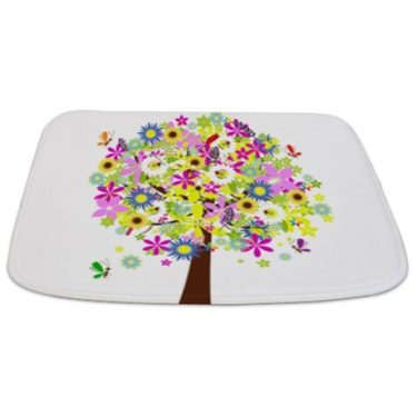 Whimsical Pretty Flowers Tree Bathmat