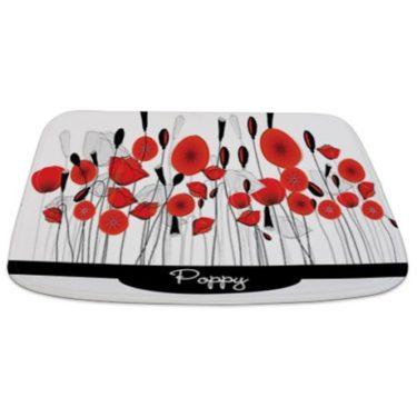 Whimsical Red Poppy Doodle Bathmat