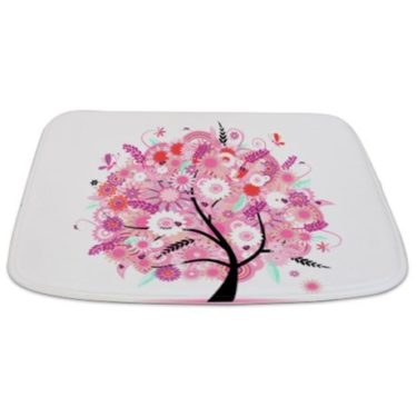 Whimsical Spring Pink Floral Tree Bathmat