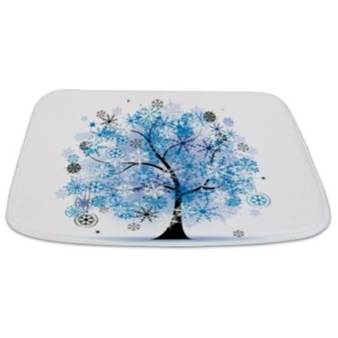 Whimsical Winter Floral Tree Bathmat