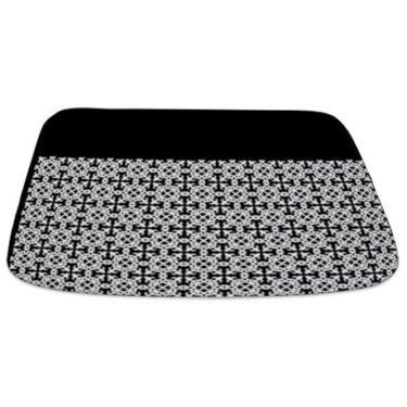 White on Black Pattern Bathmat
