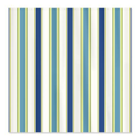 Blue Green White Stripes Shower Curtain