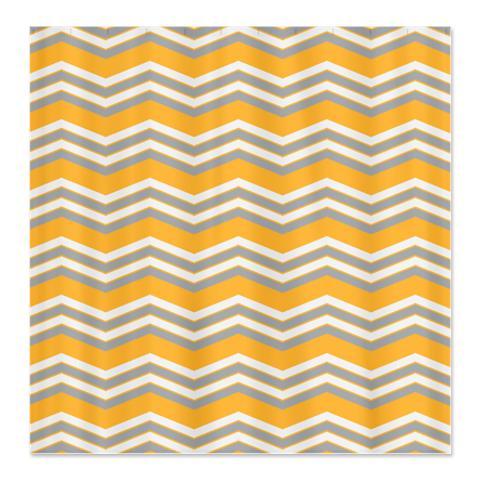 Zigzag Orange Grey And White Shower Curtain